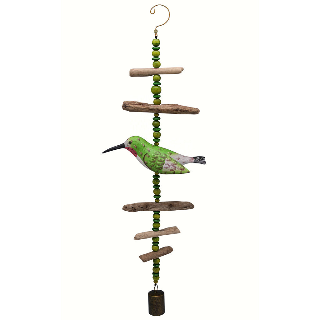 Songbird Essentials Hummingbird Hand Carved and Painted Driftwood Sculpture