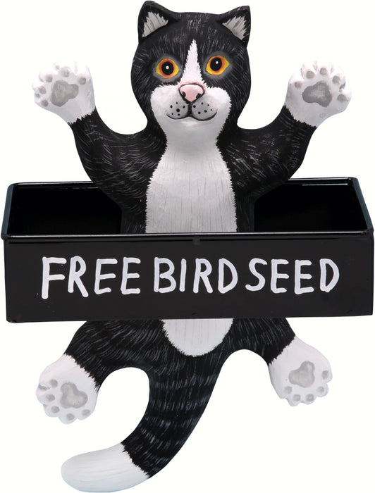 Dangling Black and White Cat Square Metal Tray Hanging Bird Feeder