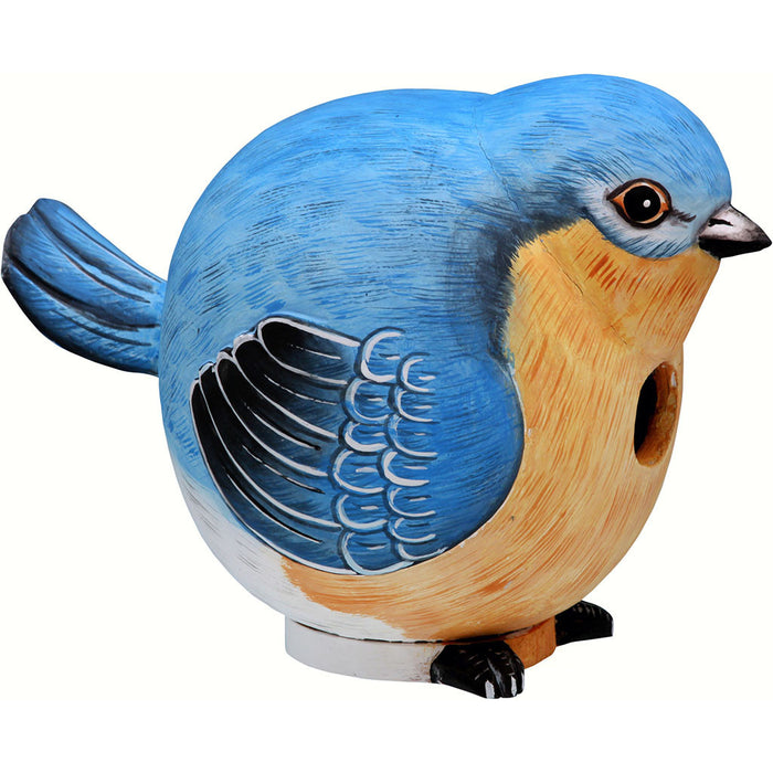 Songbird Essentials 5.9 IN x 6.4 IN x 6.4 IN Hand Painted Bluebird Gord Wood Birdhouse
