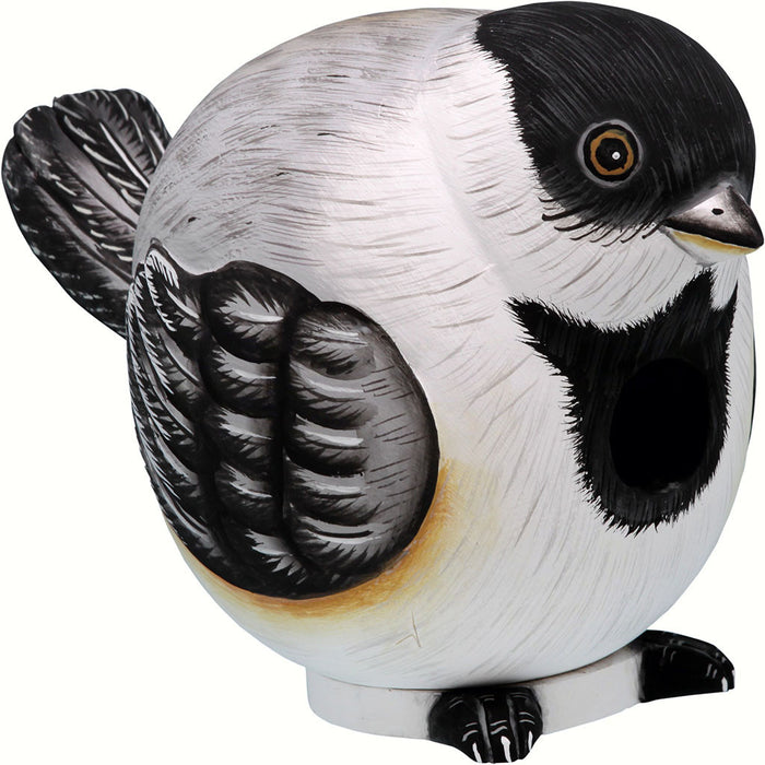 Songbird Essentials 5.7 IN x 6.2 IN x 6.2 IN Hand Painted White and Black Chickadee Gord Wood Birdhouse