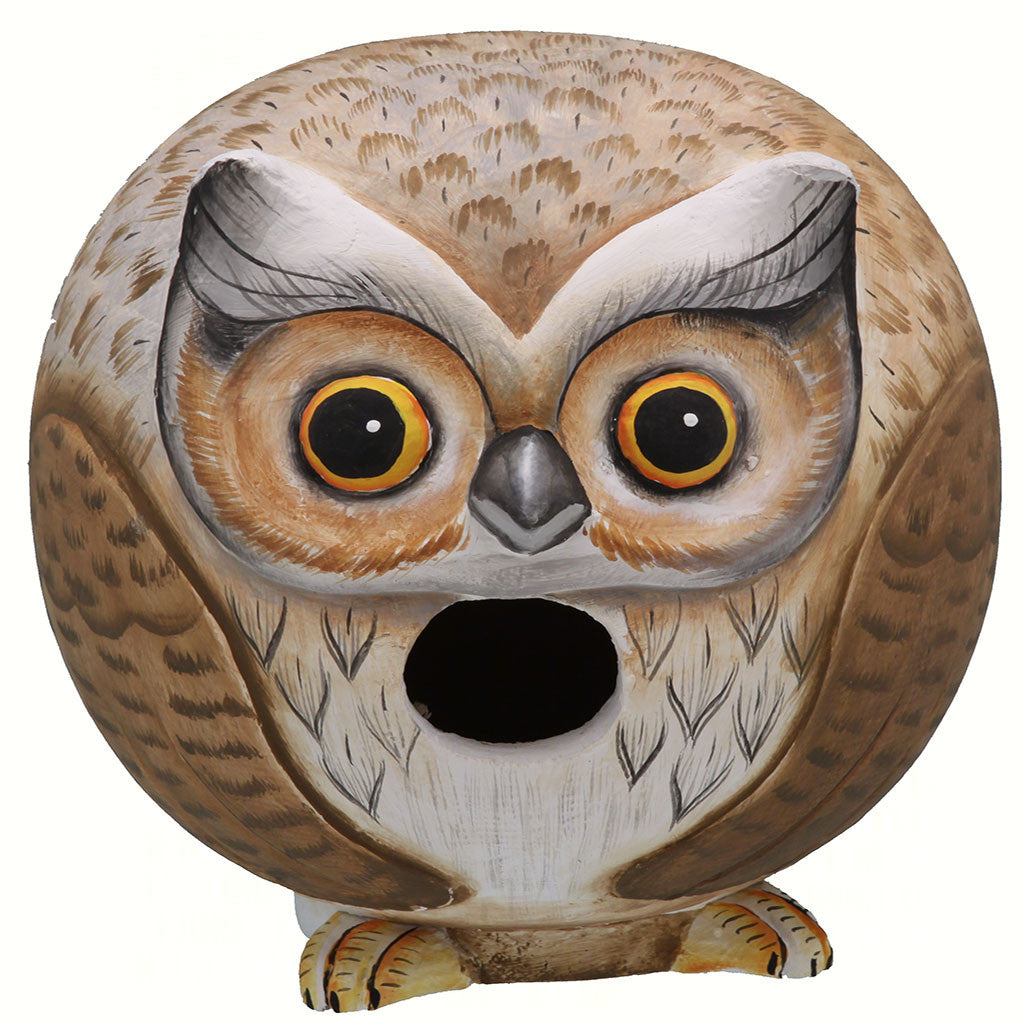 Songbird Essentials 5.5 IN x 5.9 IN x 5.9 IN Hand Painted Brown/White Owl Gord Wood Birdhouse