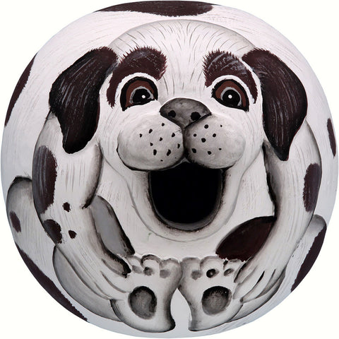 Songbird Essentials 5.5 IN x 5.8 IN x 5.8 IN Hand Painted White/Black Dog Gord Wood Birdhouse