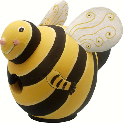Songbird Essentials 5.9 IN x 8.5 IN x 8.5 IN Hand Painted Yellow/Black Bee Gord Wood Birdhouse