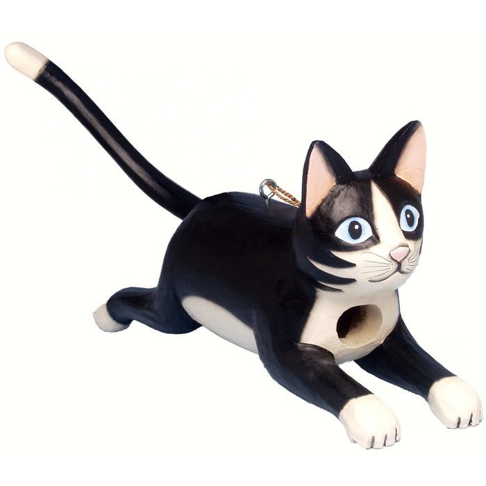 Hanging Hand-Carved Wood Birdhouse - Leaping Black & White Cat