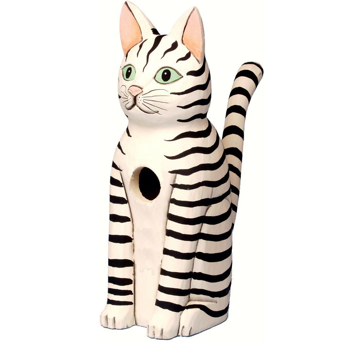 Hanging Hand-Carved Wood Birdhouse - Sitting Black & White Striped Cat