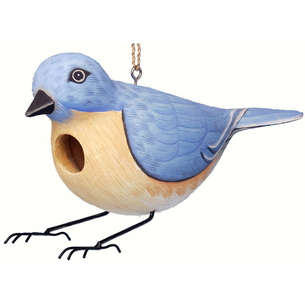 Songbird Essentials 4 IN x 12.4 IN x12.4 IN Hand Painted Blue/Yellow Bluebird Wood Birdhouse