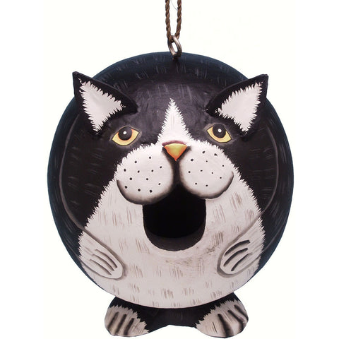 Songbird Essentials 5.5 IN x 5.5 IN x 5.5 IN Hand Painted Black/White Cat Gord Wood Birdhouse