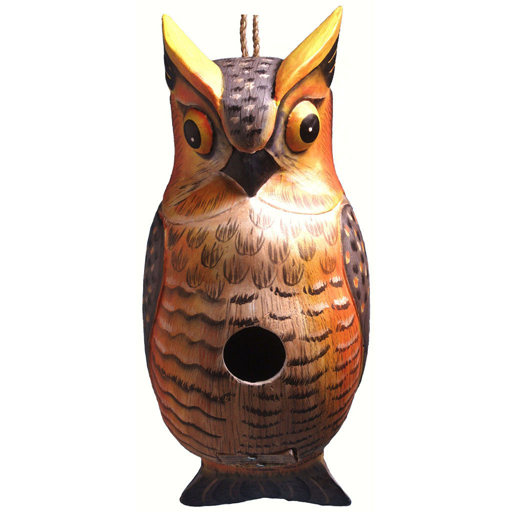Songbird Essentials 4.1 In x 9.8 IN x 9.8 IN Hand Painted Great Horned Owl Wood Birdhouse