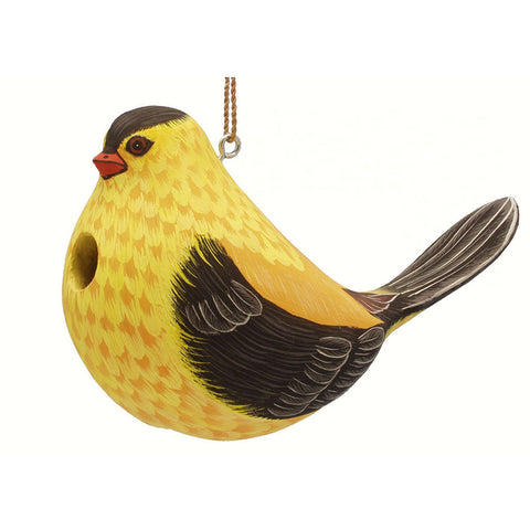 Songbird Essentials 5.1 IN x 10 IN x 10 IN Hand Painted Fat Goldfinch Wood Birdhouse