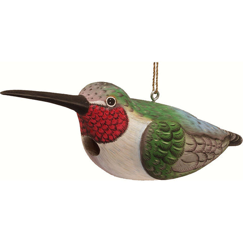Songbird Essentials 5.5 IN x 17.7 IN x 17.7 IN  Hand Painted Hummingbird Wood Birdhouse