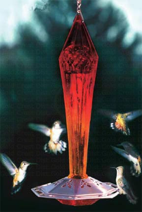 Faceted Ruby Hummingbird Feeder