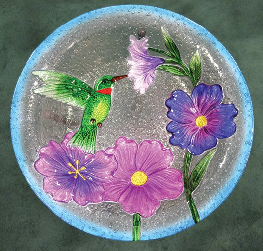 Hummingbird Glass Bird Bath Bowl
