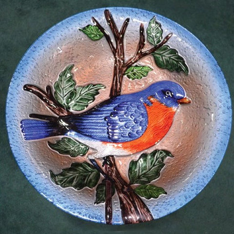 Bluebird Glass Bird Bath Bowl