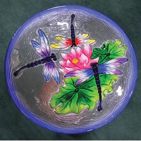 Dragonfly Trio Glass Bird Bath Bowl