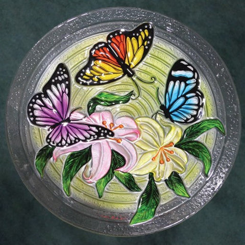 Butterfly Trio Glass Bird Bath Bowl