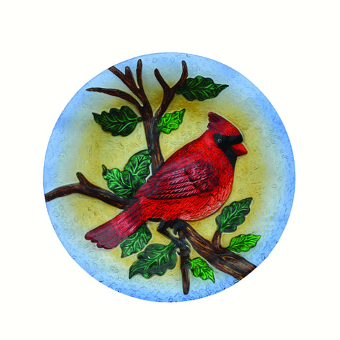 Majestic Cardinal Glass Bird Bath Bowl
