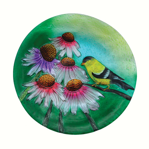 Goldfinch Glass Bird Bath Bowl