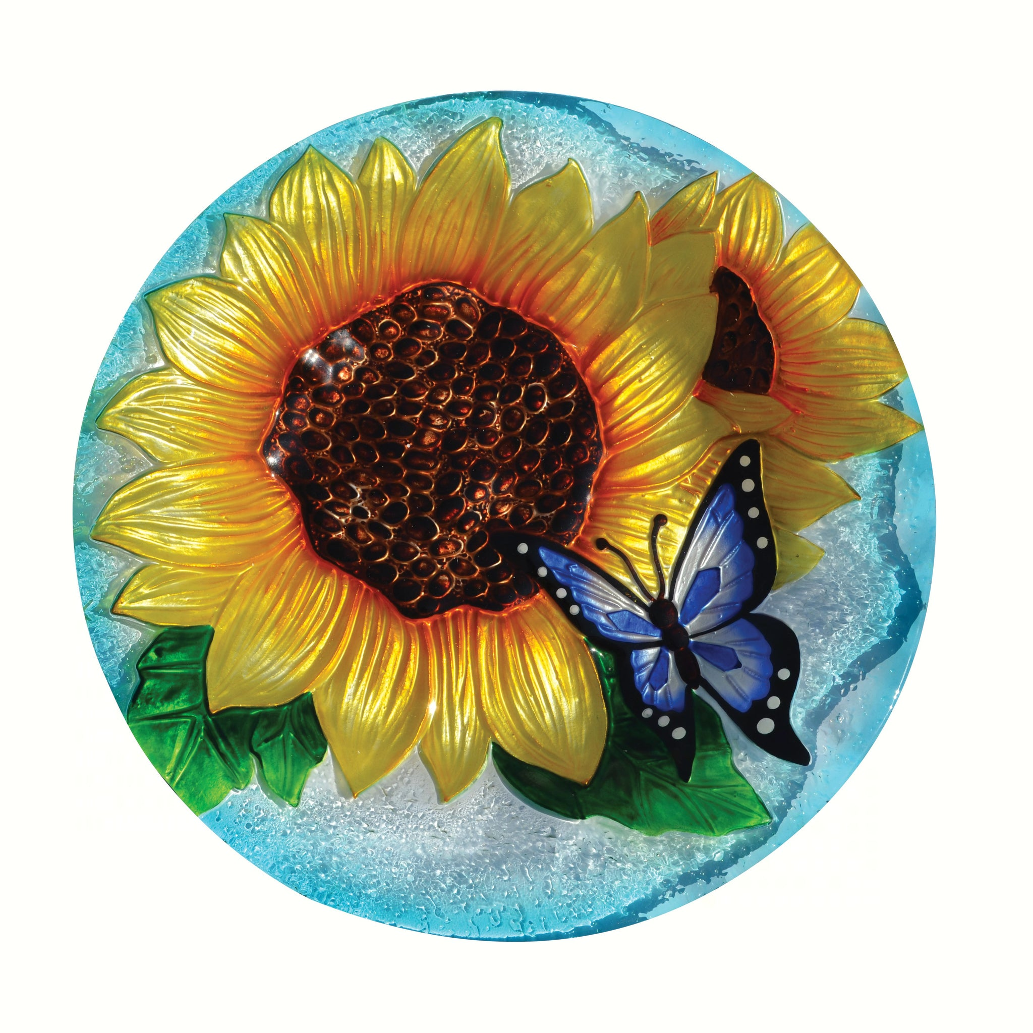 Blooming Sunflower Glass Bird Bath Bowl