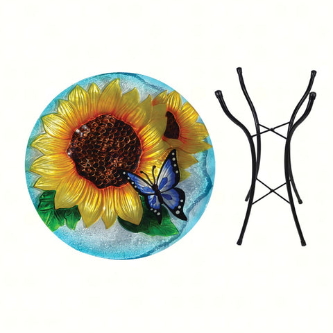 Blooming Sunflower Birdbath w/stand