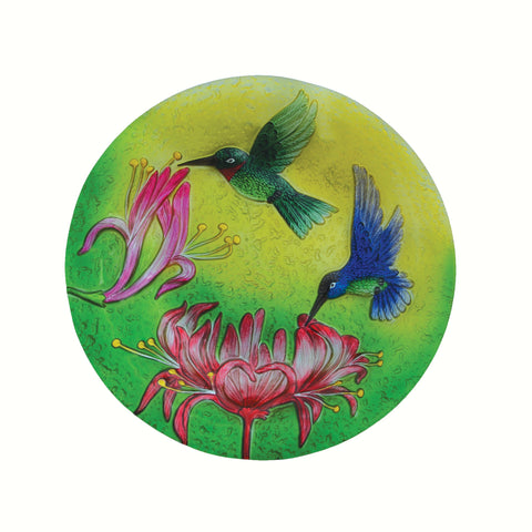 Fluttering Hummingbirds Glass Bird Bath Bowl