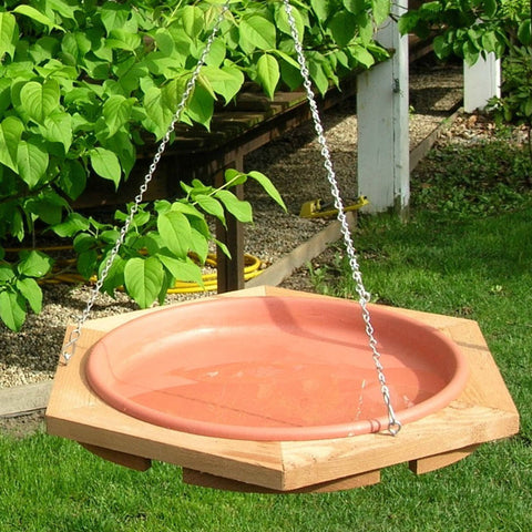 Songbird Essentials 22.5 IN Red Cedar Frame Clay colored Pan Hanging Birdbath