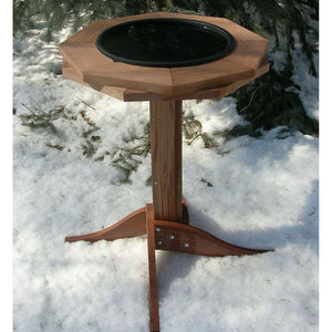 Songbird Essentials 22 IN Western Red Cedar Frame 14 IN Heated Bath Pan Bird Bath