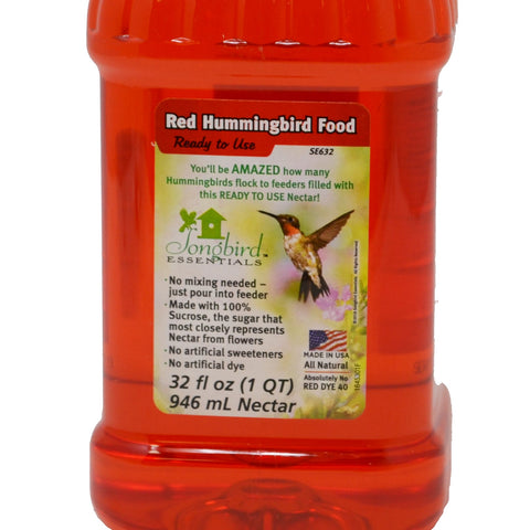 1 Liter (33.8 OZ) Red All Natural Ready To Use Hummingbird Nectar