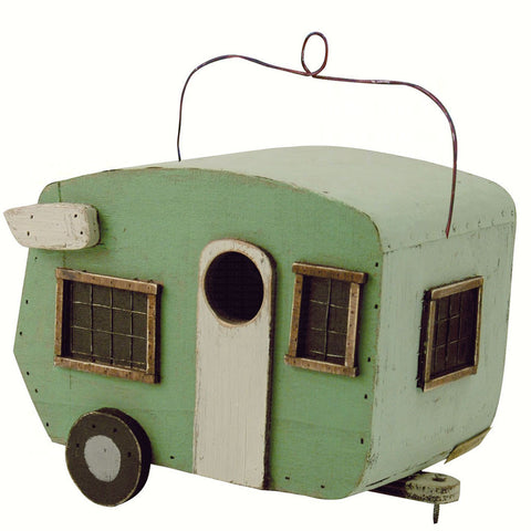 Songbird Essentials 6 In x 8.5 IN x 8.5 IN Hand Painted Green/White Fifth Wheel Camper Birdhouse