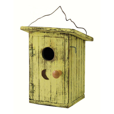 Songbird Essentials 7 IN x 10.5 IN x 10.5 IN Hand Painted Yellow Wood Birdhouse