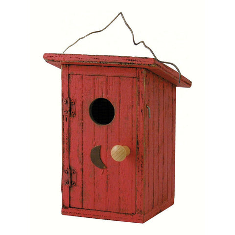 Songbird Essentials 7 IN x 10.5 IN x 10.5 IN Hand Painted Red Wood Birdhouse