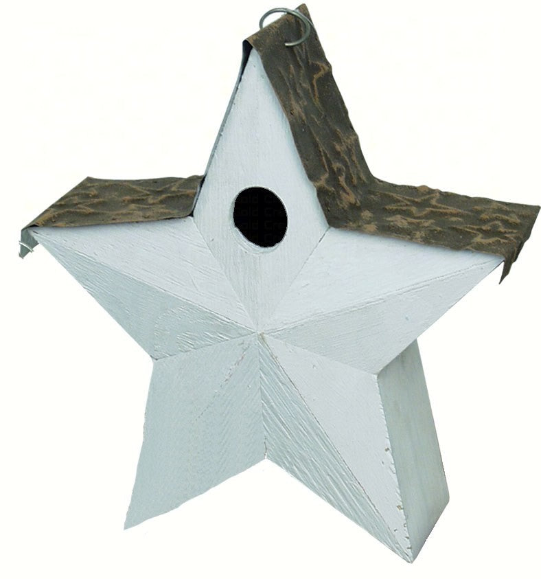 Country Star Birdhouse White