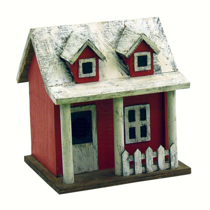 Songbird Essentials 6.5 IN x 8 IN x 8 IN Hand Painted Picket Fence Cottage Wood Birdhouse
