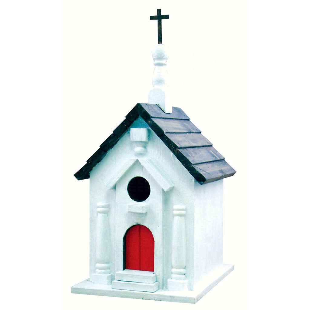 Songbird Essentials 8.5 IN x 7 IN x 7 IN Hand Painted River Road Church Wood Birdhouse