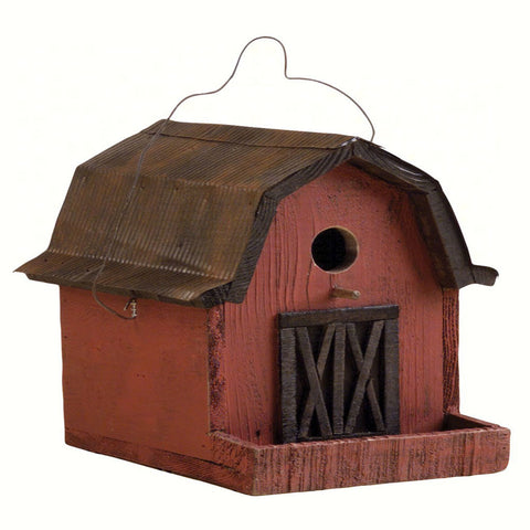 Songbird Essentials 9 IN x 8 IN x 8 IN Hand Painted Red Barn Wood Birdhouse