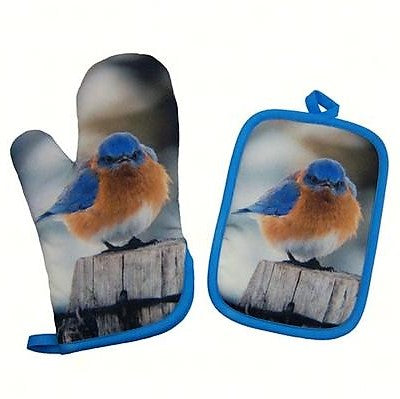 Songbird Essentials Bluebird Polyester/Cotton Potholder and Oven Mitt Set
