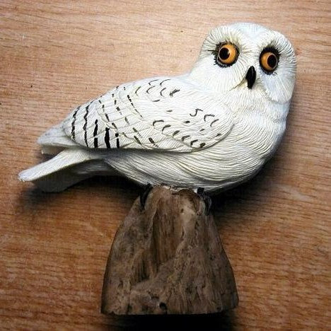Songbird Essentials Poly-resin Snowy Owl Statuette