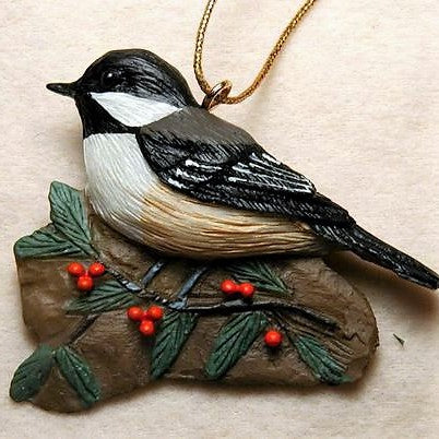 Songbird Essentials Poly-resin Chickadee With Holly Ornament