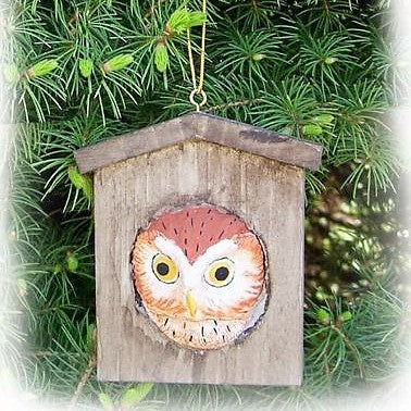 Songbird Essentials Poly-resin Owl House Ornament