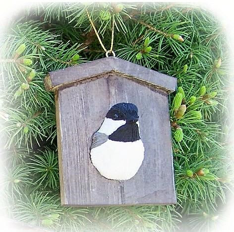 Songbird Essentials Poly-resin Chickadee House Ornament