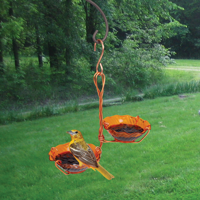 Copper Double Cup Oriole Jelly Feeder