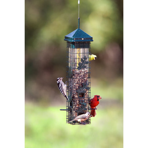 Squirrel Solutions 2 Qt Capacity Seed Saver 200 Weight Activated Steel Cage 6 Port Bird Feeder
