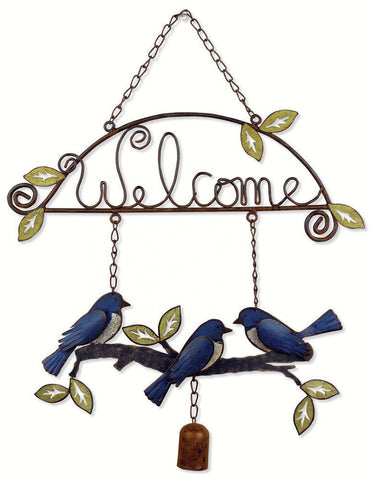 Bluebird with Hanging Chain Welcome Sign