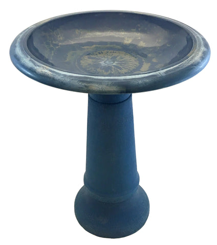 Navy Blue Fiber Clay Bird Bath With Base