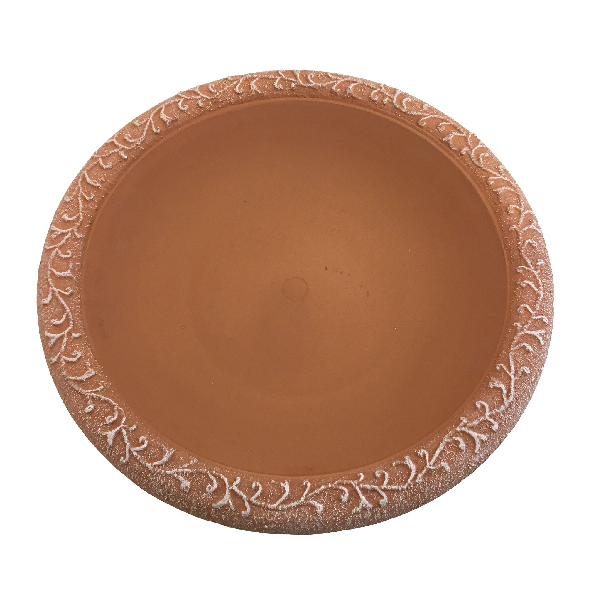 Terra Cotta Gloss Bird Bowl with Matte Rim