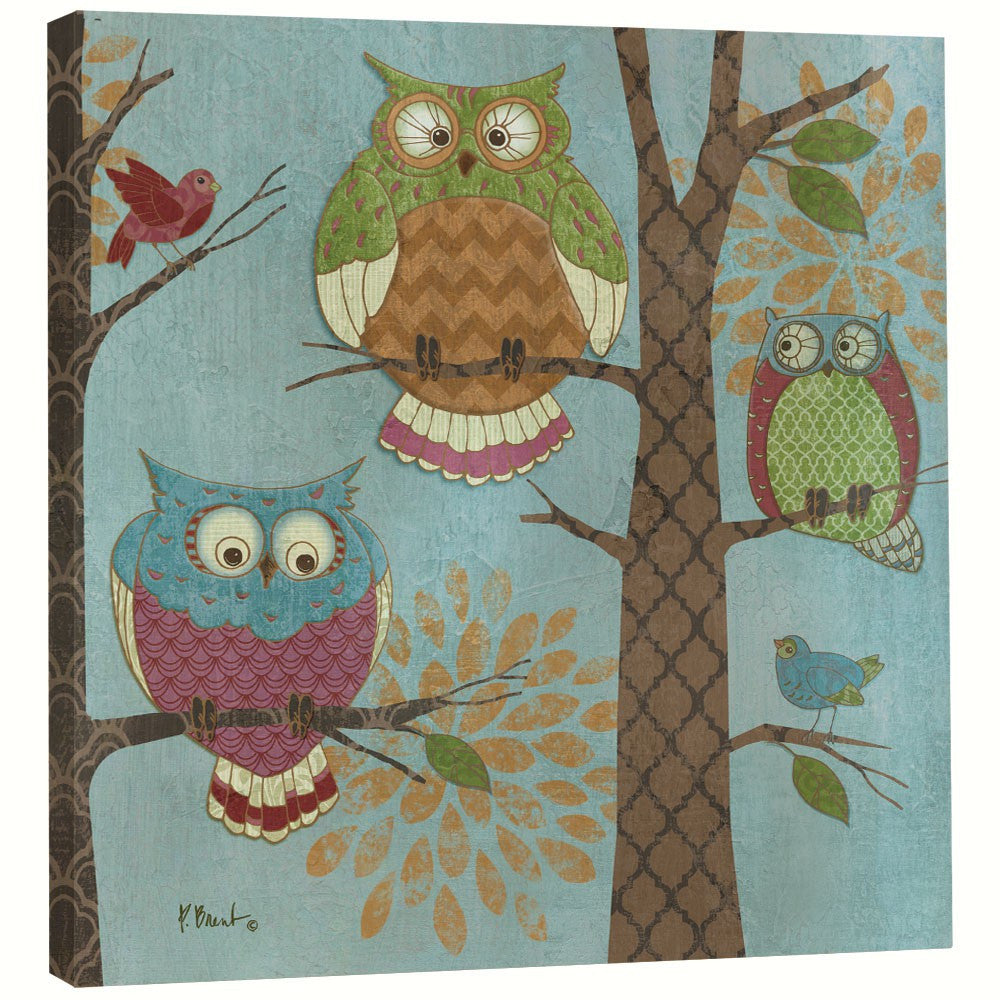 Tree-Free Greetings 11.25 IN x 11.25 IN Recycled Wood Fantasy Owls Art Plaque