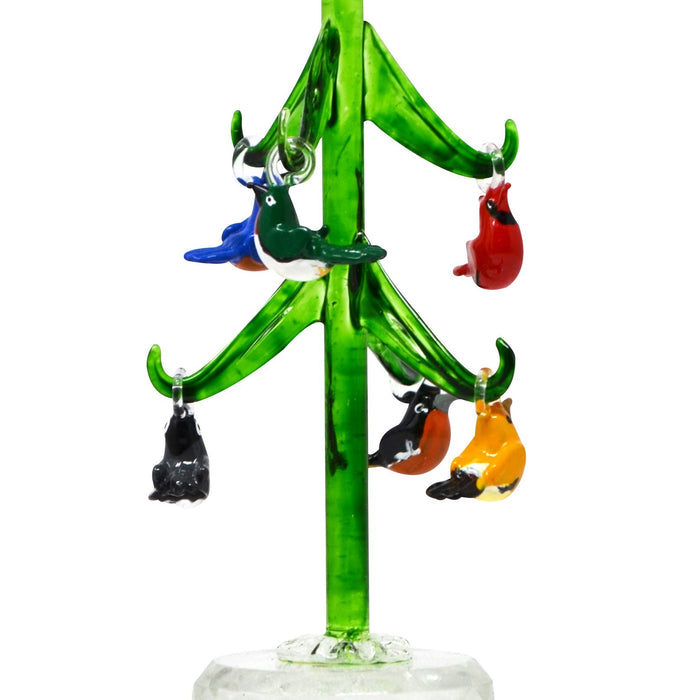 6 IN Glass Tree With 6 Songbirds