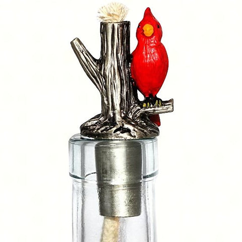 Cardinal Painted Pewter Winelight