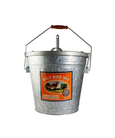 Wild Bird Seed Vintage Galvanized Storage Bucket