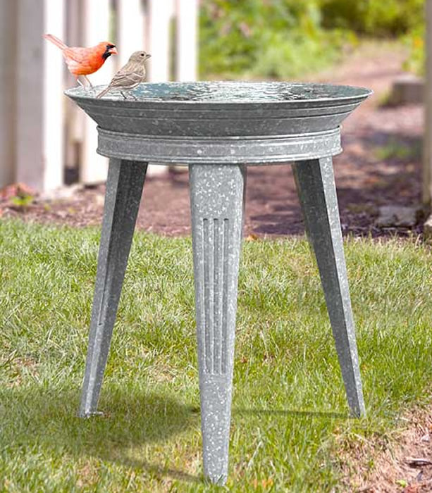 Vintage Galvanized Standing Metal Bird Bath