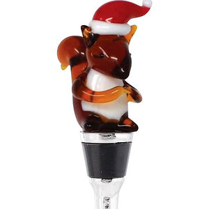 Squirrel With Santa Hat Holiday Bottle Stopper